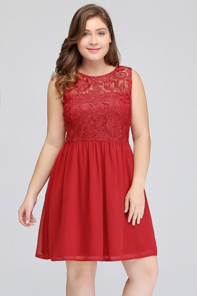 HENLEY | A-Line Crew Short Sleeveless Lace Chiffon Red Cocktail Dresses_6
