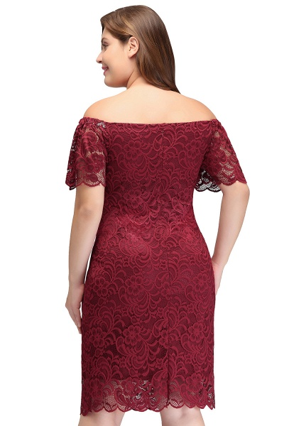 JAYDA | Mermaid Off-Shoulder Short Plus size Lace Burgundy Cocktail Dresses with Sleeves_3