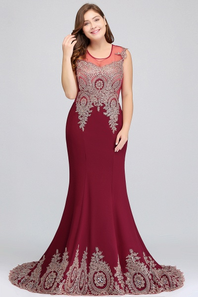 HOPE | Mermaid Appliques Crew Floor Length Sleeveless Burgundy Plus Size Evening Dresses_6