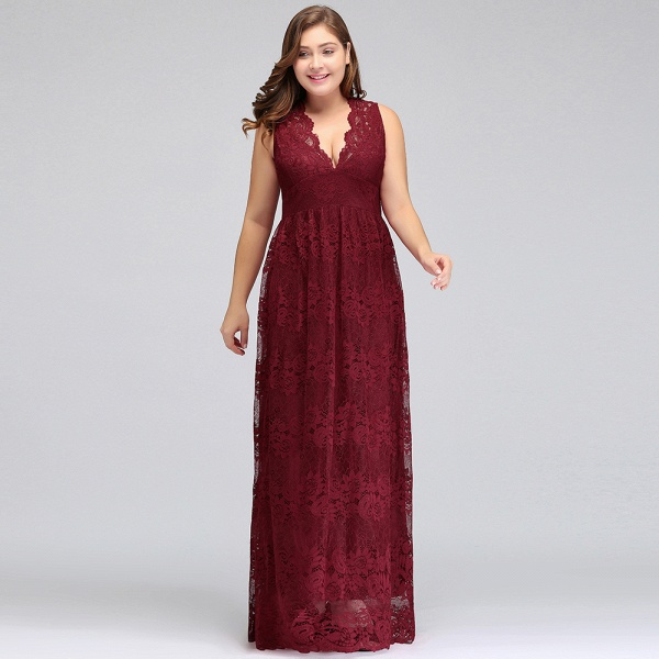 JADE | A-Line V-neck Floor Length Sleeveless Plus size Lace Burgundy Evening Dresses_9