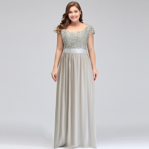 HOLLAND | A-Line Scoop Floor Length Cap Sleeves Appliques Silver Plus Size Evening Dresses with Sash_16