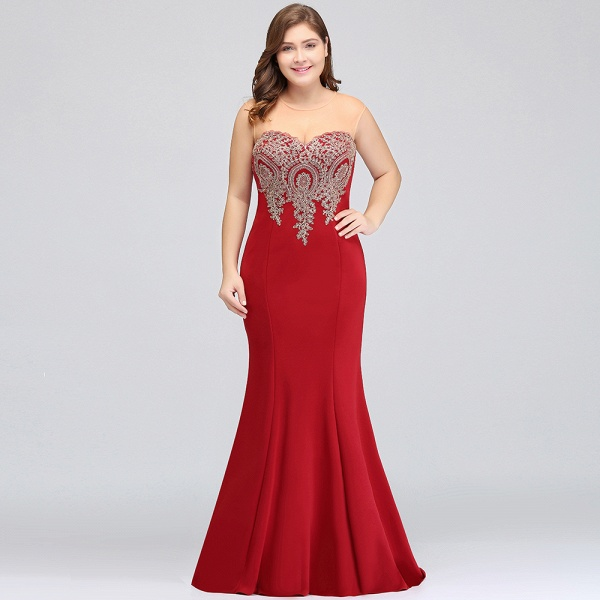 INGRID   Mermaid Crew Illusion Plus size Long Sleeveless Burgundy Formal Dresses with Appliques_18