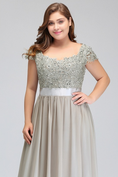 HOLLAND | A-Line Scoop Floor Length Cap Sleeves Appliques Silver Plus Size Evening Dresses with Sash_13