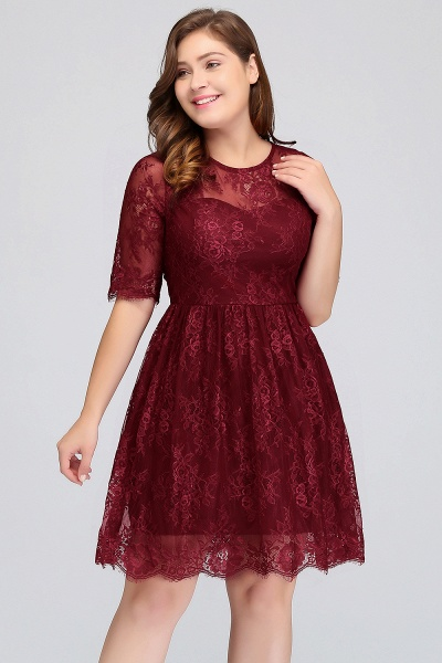 JASMINE | A-Line Crew Plus size Half Sleeves Short Lace Burgundy Cocktail Dresses_4
