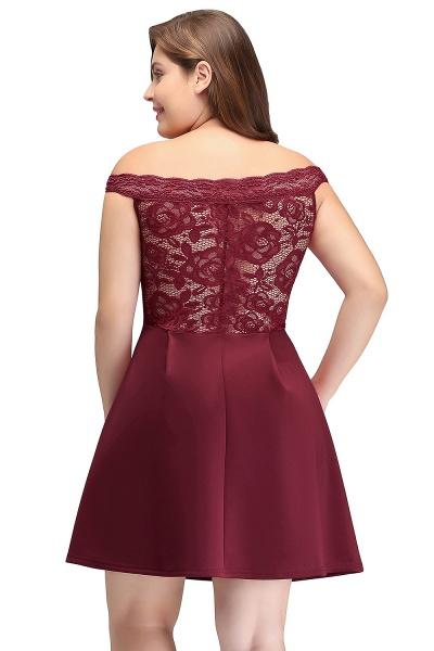 JAYCEE | A-Line Off-Shoulder Short Lace Chiffon Plus size Lace Burgundy Cocktail Dresses_3