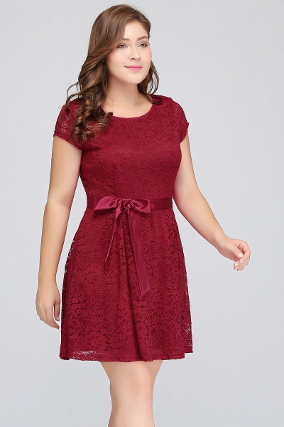 JALIYAH | A-Line Scoop Short Plus size Short Sleeves Lace Burgundy Cocktail Dresses with Bow_1