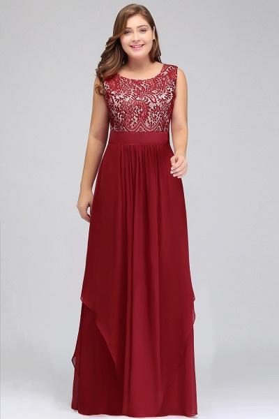 ILIANA | A-Line Scoop Plus size Long Sleeveless Lace Appliques Chiffon Evening Dresses_8