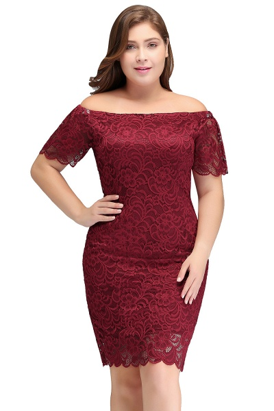 JAYDA | Mermaid Off-Shoulder Short Plus size Lace Burgundy Cocktail Dresses with Sleeves_1