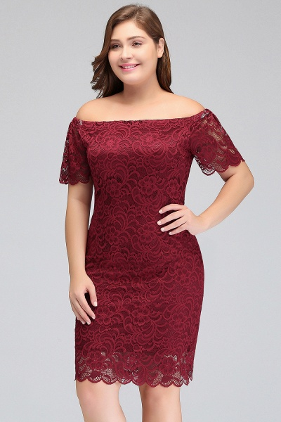 JAYDA | Mermaid Off-Shoulder Short Plus size Lace Burgundy Cocktail Dresses with Sleeves_4