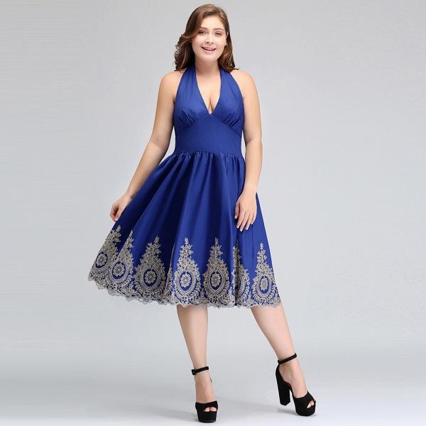IZABELLA | A-Line V-neck Halter Plus size Tea Length Cocktail Dresses with Appliques_8