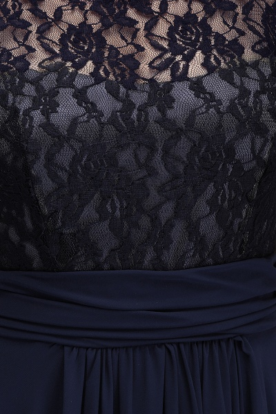 IVY | A-Line Crew Long Plus size Sleeveless Dark Navy Formal Dresses with Lace_13