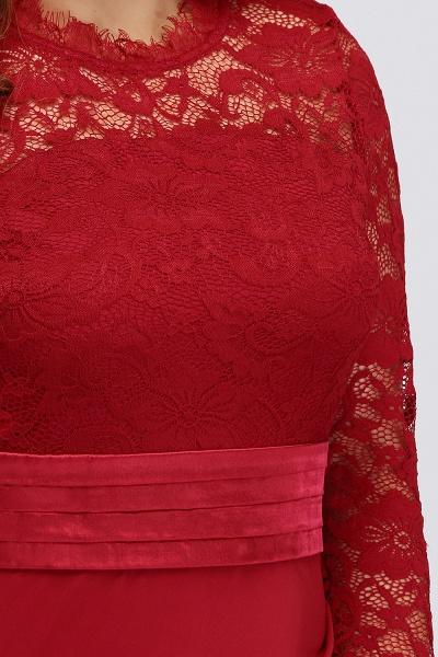 JACQUELINE | Mermaid Crew Floor Length Plus size Lace Formal Dresses with Sash_7