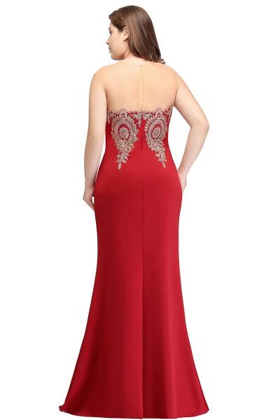 INGRID   Mermaid Crew Illusion Plus size Long Sleeveless Burgundy Formal Dresses with Appliques_13