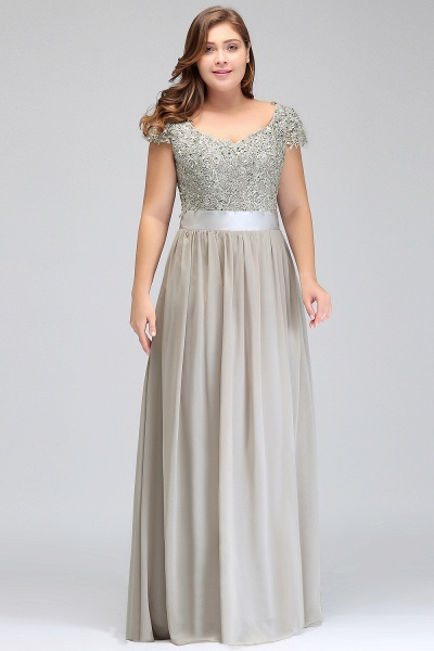 HOLLAND | A-Line Scoop Floor Length Cap Sleeves Appliques Silver Plus Size Evening Dresses with Sash_10