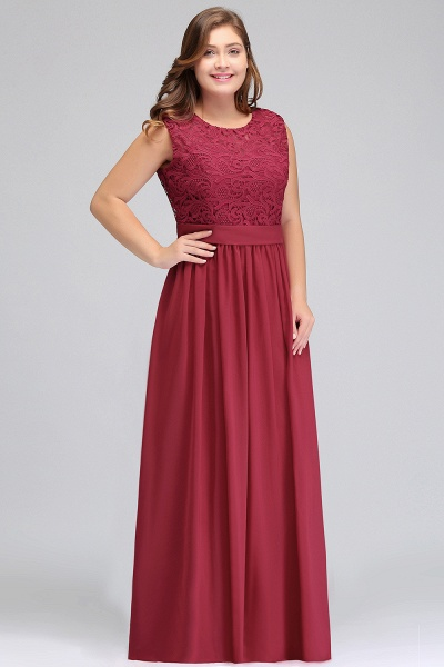 ITZEL | A-Line Crew Long Plus size Sleeveless Lace Chiffon Evening Dresses with Sash_5