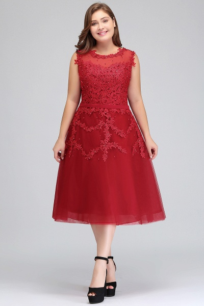 IRELAND   A-Line Crew Tea Length Plus size Sleeveless Tulle Burgundy Cocktail Dresses with Appliques_1