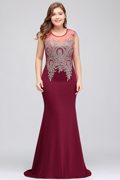 HUNTER   Mermaid Scoop Floor Length Plus size Sleeveless Appliques Burgundy Evening Dresses_6
