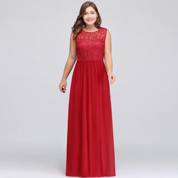 ISLA | A-Line Crew Floor Length Sleeveless Plus size Lace Chiffon Evening Dresses_10