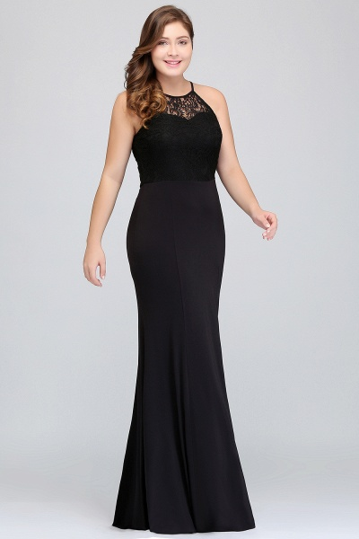 JAELYNN | Mermaid Halter Floor Length Plus size Black Evening Dresses with Lace_8