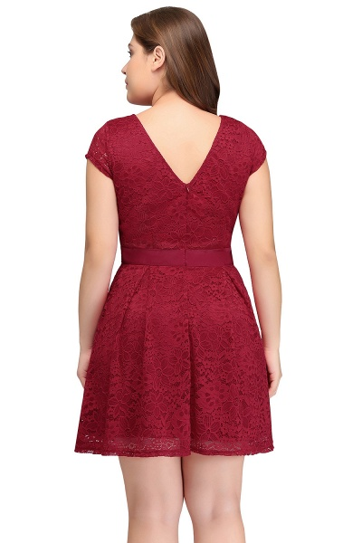 JALIYAH | A-Line Scoop Short Plus size Short Sleeves Lace Burgundy Cocktail Dresses with Bow_9