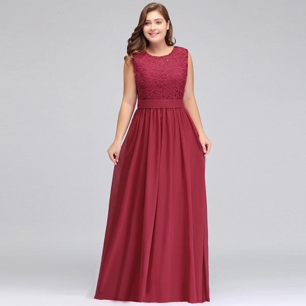 ITZEL | A-Line Crew Long Plus size Sleeveless Lace Chiffon Evening Dresses with Sash_8