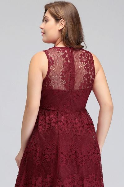 JADE | A-Line V-neck Floor Length Sleeveless Plus size Lace Burgundy Evening Dresses_10