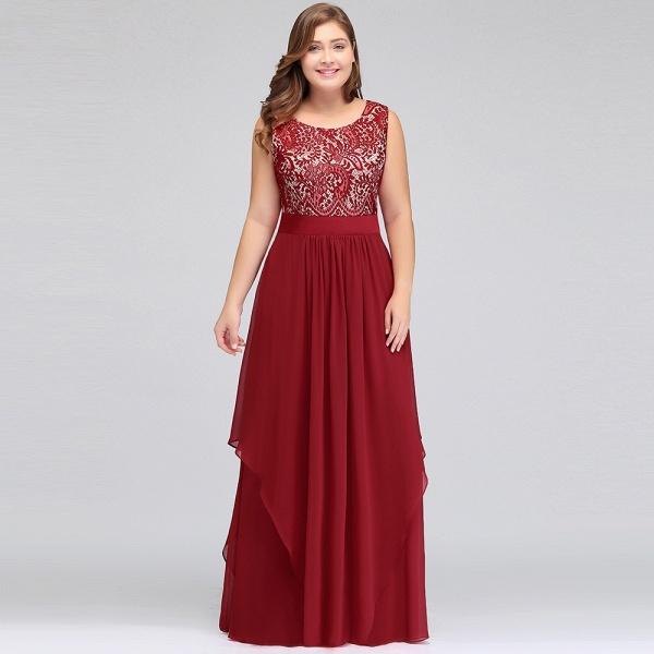 ILIANA | A-Line Scoop Plus size Long Sleeveless Lace Appliques Chiffon Evening Dresses_9