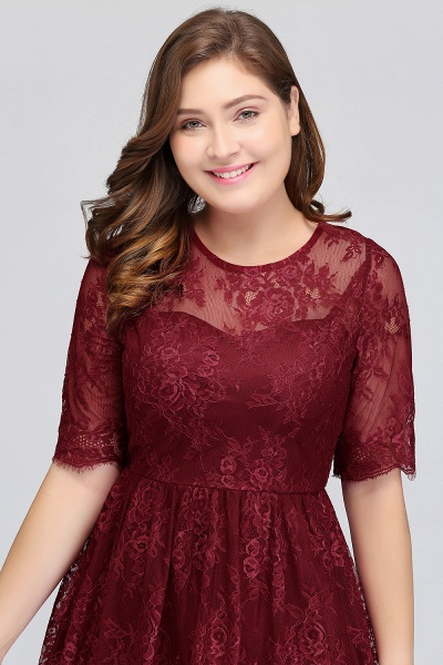 JASMINE | A-Line Crew Plus size Half Sleeves Short Lace Burgundy Cocktail Dresses_6