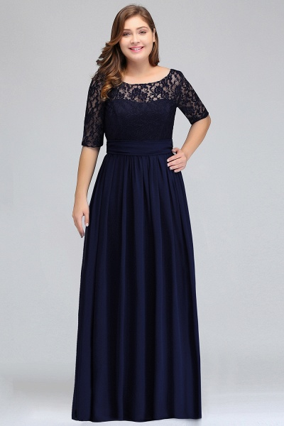 Short Sleeves Lace A-line Floor Length Bridesmaid Dress_4