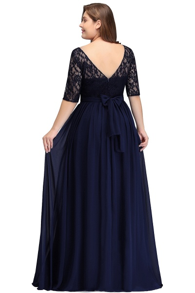 Short Sleeves Lace A-line Floor Length Bridesmaid Dress_3