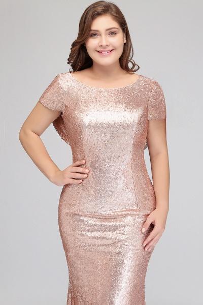 ISABEL | Mermaid Bateau Short sleeves Plus size Floor Length Sequins Formal Dresses_7