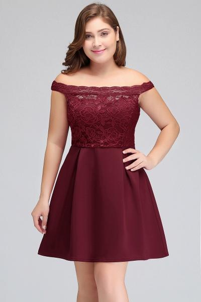 JAYCEE | A-Line Off-Shoulder Short Lace Chiffon Plus size Lace Burgundy Cocktail Dresses_7