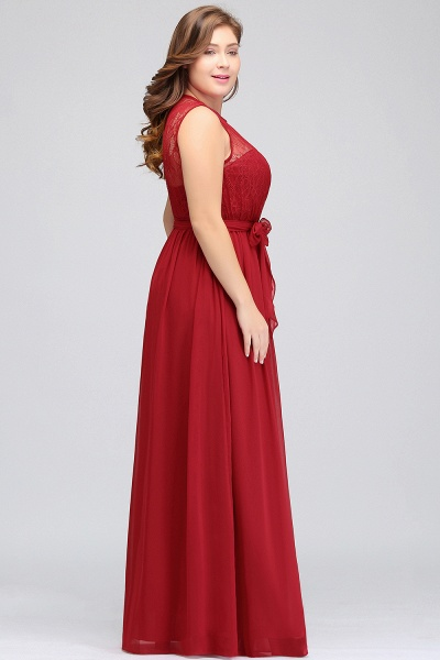 JAELYN | A-Line Crew Long Sleeveless Plus size Chiffon Evening Dresses with Ruffles Bow_8