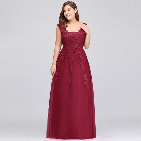 IRIS | A-Line Bateau Long Plus size Sleeveless Evening Dresses with Appliques_10