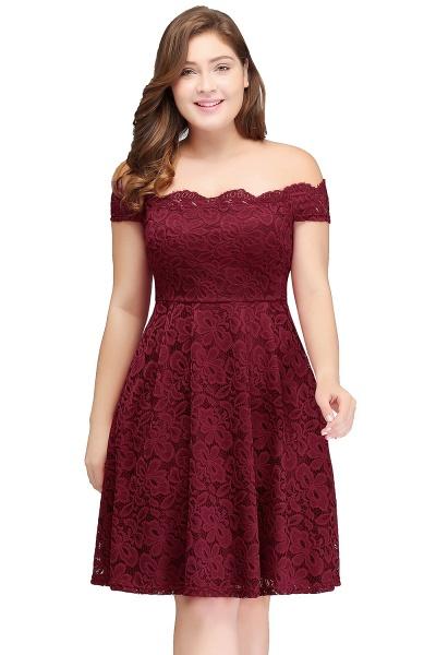 JANIYA | A-Line Off-Shoulder Knee Length Plus size Lace Burgundy Cocktail Dresses_1