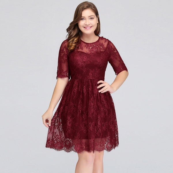 JASMINE | A-Line Crew Plus size Half Sleeves Short Lace Burgundy Cocktail Dresses_11