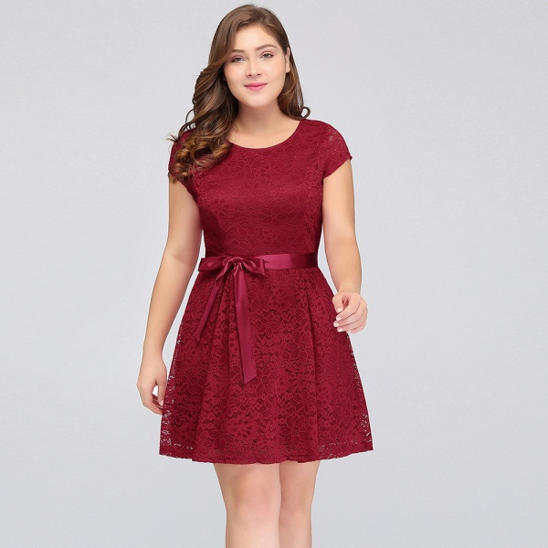 JALIYAH | A-Line Scoop Short Plus size Short Sleeves Lace Burgundy Cocktail Dresses with Bow_8