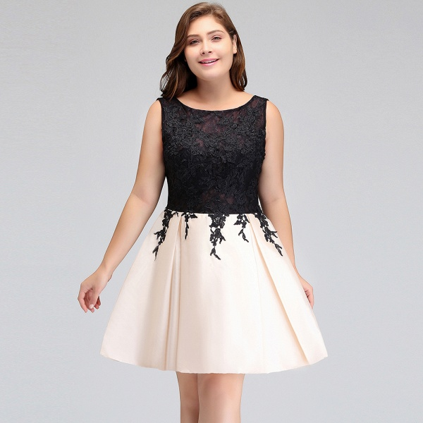ISABELLA | A-Line Scoop Short Sleeveless Plus size Cocktail Dresses with Appliques_9