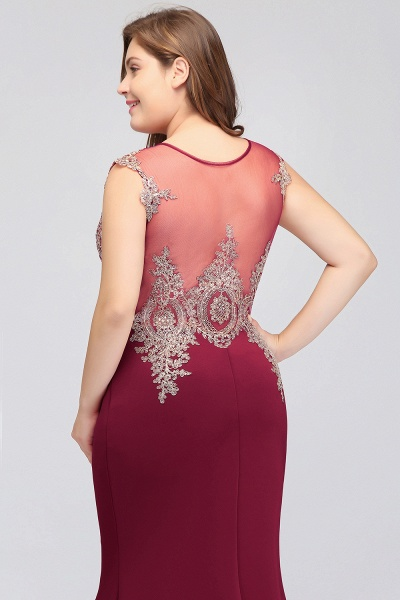 HUNTER   Mermaid Scoop Floor Length Plus size Sleeveless Appliques Burgundy Evening Dresses_10