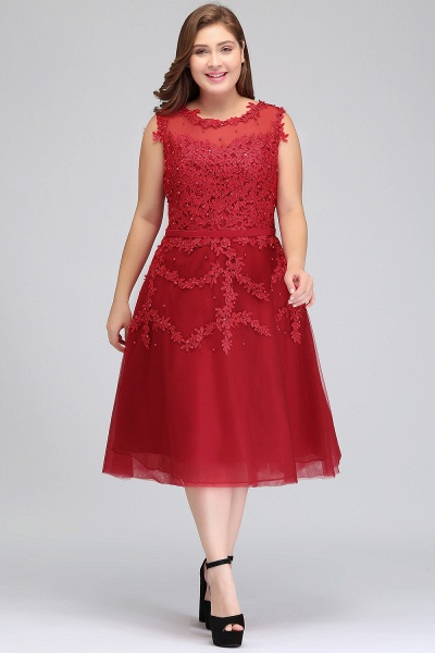 IRELAND | A-Line Crew Tea Length Plus size Sleeveless Tulle Burgundy Cocktail Dresses with Appliques_5