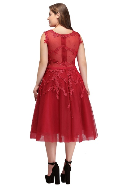 IRELAND   A-Line Crew Tea Length Plus size Sleeveless Tulle Burgundy Cocktail Dresses with Appliques_8
