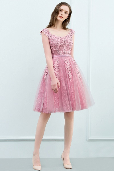 WILMA | Ball Gown Illusion Neckline Tea Length Lace Tulle Dusty Pink Prom Dresses with Beading_1