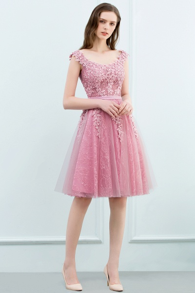 WILMA | Ball Gown Illusion Neckline Tea Length Lace Tulle Dusty Pink Prom Dresses with Beading_11