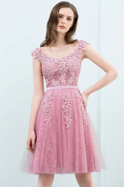 WILMA | Ball Gown Illusion Neckline Tea Length Lace Tulle Dusty Pink Prom Dresses with Beading_12