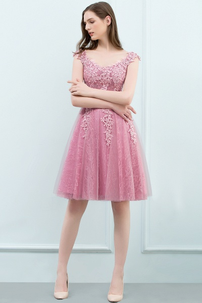 WILMA | Ball Gown Illusion Neckline Tea Length Lace Tulle Dusty Pink Prom Dresses with Beading_14