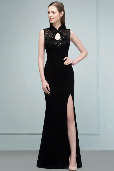 Modest High Neck Lace Mermaid Evening Dress_11