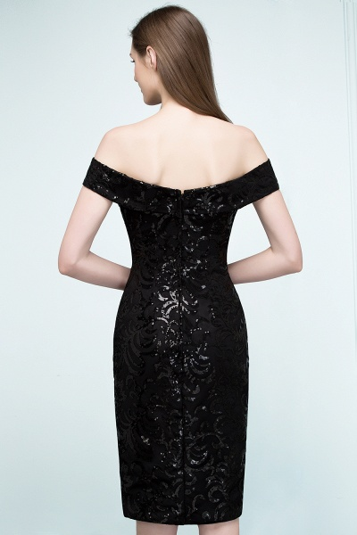 Attractive Off-the-shoulder Sequined Column Evening Dress_5