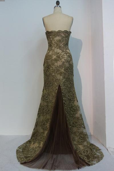 JEWEL | Mermaid Strapless Sweetheart Floor Length Lace Prom Dresses_3