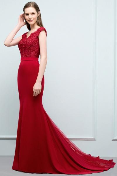 Affordable V-neck Stretch Satin Mermaid Evening Dress_3