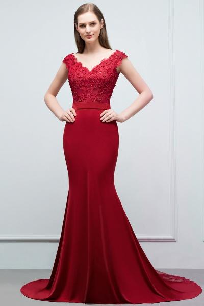 Affordable V-neck Stretch Satin Mermaid Evening Dress_8